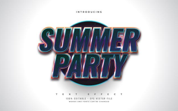 Testo della festa estiva in stile retrò colorato con effetto rilievo 3d. effetto stile testo modificabile