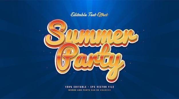 Testo della festa estiva in sfumatura arancione con stile vintage. effetto di testo modificabile