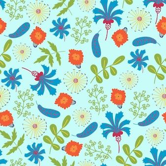 Modello estivo fiori fiordalisi foglie ornamento floreale