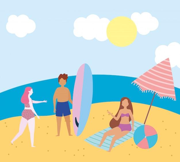 Attività estive di persone, uomo e ragazze con la tavola da surf, relax in riva al mare e svago all'aperto