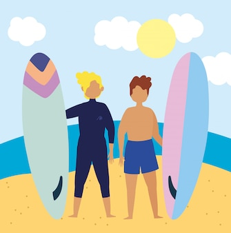 Attività estive, giovani in possesso di tavola da surf in spiaggia, relax in riva al mare e svago all'aperto