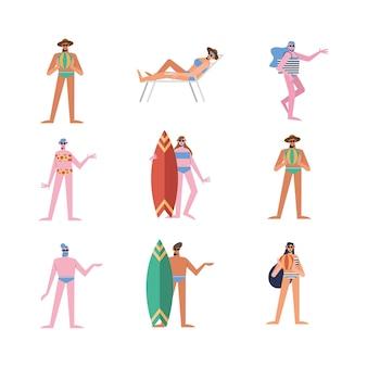 Cartoni animati di persone estive con set di costumi da bagno
