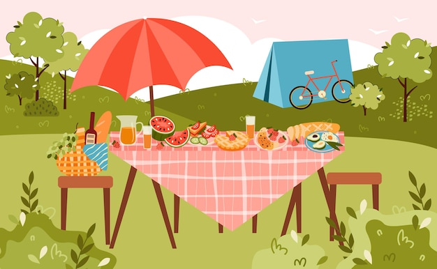 Picnic estivo e banner da campeggio con tavolo servito per mangiare sulla natura e tenda da campo, illustrazione vettoriale piatta. ricreazione estiva sulla natura e attività di campeggio.