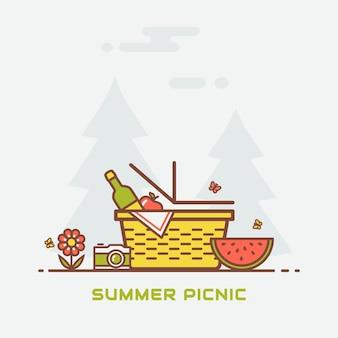 Picnic estivo nella natura. bandiera di vettore con cesto, vino, mela, anguria, farfalle, macchina fotografica e con alberi sullo sfondo. illustrazione al tratto moderno colorato.