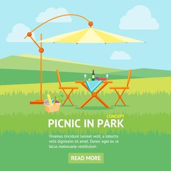 Picnic estivo in stile piatto banner park. tavolo, sedie e ombrellone. ricreazione all'aperto.