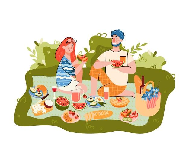 Picnic estivo con personaggi dei cartoni animati di uomo e donna