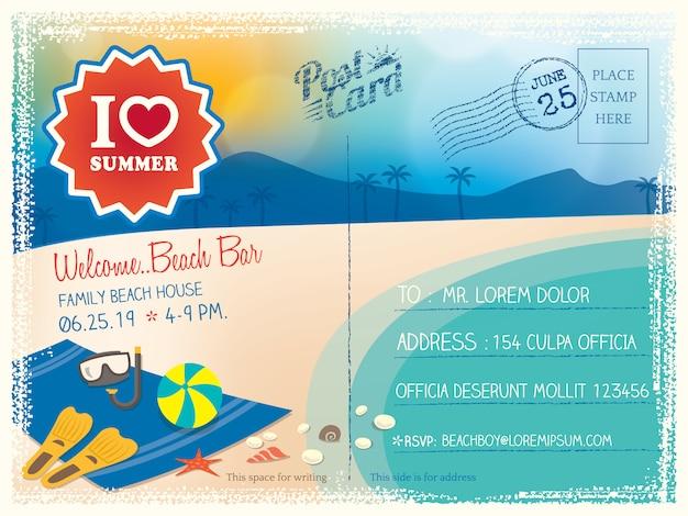 Sfondo cartolina d'estate Vettore Premium