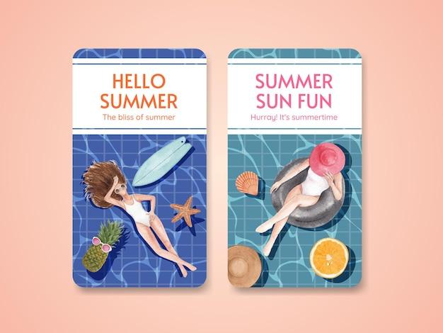 Modello di poster estivo con vibrazioni estive