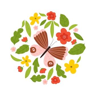 Stampa estiva con farfalla in un cerchio di fiori e foglie. illustrazione su uno sfondo bianco.