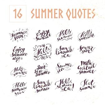 Set di citazioni estive. illustrazione.