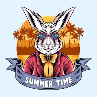 Conigli estivi che fanno festa sulla spiaggia