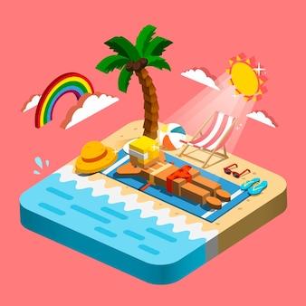Concetto di ricreazione estiva 3d infografica isometrica con scena di prendere il sole