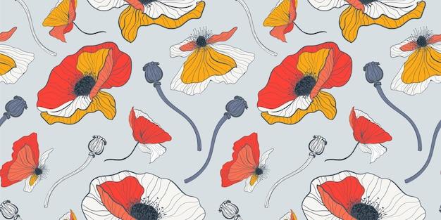 Reticolo senza giunte floreale di papaveri rossi e bianchi di estate