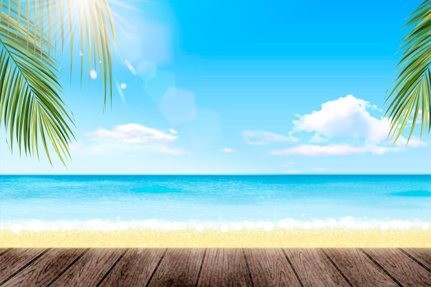 Località estiva con un bellissimo oceano e palme