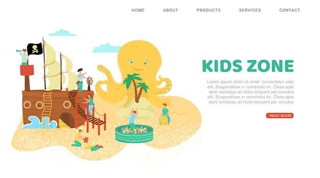 Riposo estivo, iscrizione zona bambini, relax nella spiaggia del parco, illustrazione, su bianco. intrattenimento all'aperto, parco giochi sicuro, ragazzi felici giocano ai pirati.