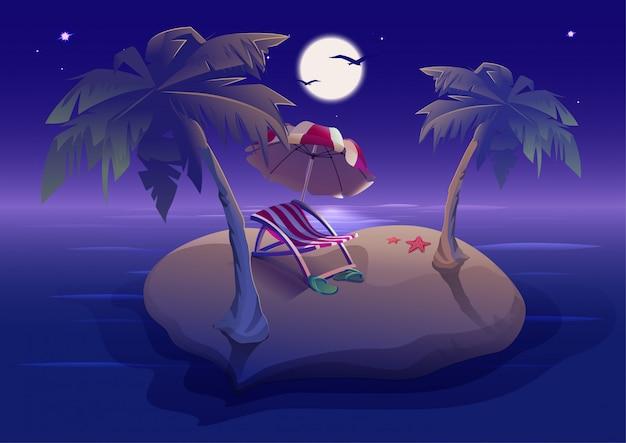 Riposo estivo. notte romantica sull'isola tropicale sotto le palme