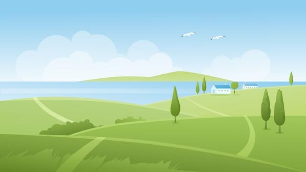 Illustrazione del paesaggio fluviale estivo