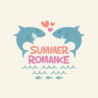 Summer romance sharks in love