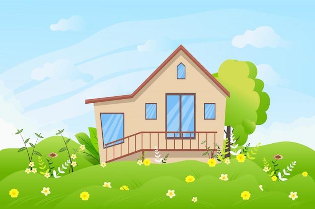 Paesaggio rurale del giardino del cottage di estate