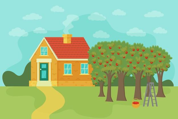 Paesaggio rurale estivo con l'agricoltura e l'agricoltura dell'erba verde della casa del villaggio vettore
