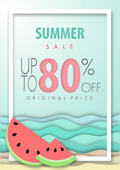 Stile di arte di carta di sfondo estate vendita
