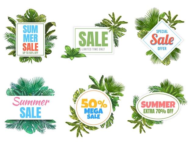Distintivi di saldi estivi. manifesto di vendita astratto con foglie tropicali, etichetta con cornice floreale e set di badge offerta estiva.