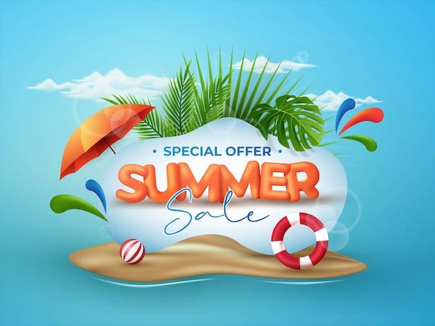 Progettazione del fondo dell'insegna di vendita di estate con gli elementi tropicali 3d sul fondo blu della spiaggia