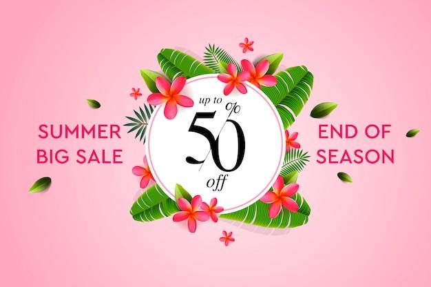 Banner di vendita estiva, modello di progettazione con elementi estivi per la promozione del prodotto, bellezza e cosmetici, prodotti naturali, moda. illustrazione.