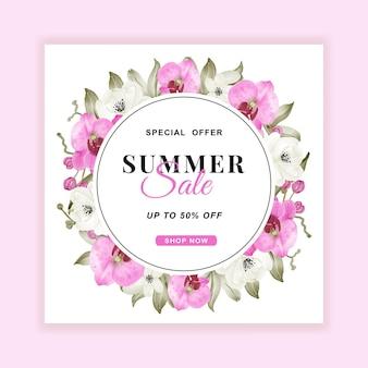 Volantino per banner di saldi estivi con acquerello rosa orchidea