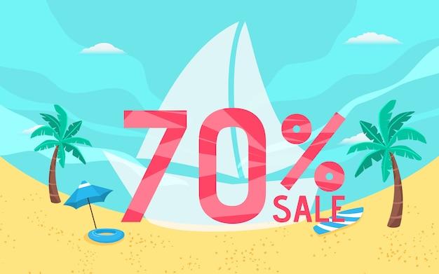 Estate vendita banner vacanza con scena sulla spiaggia.
