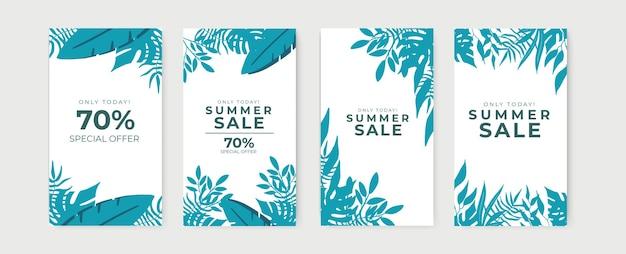 Banner di saldi estivi, poster di sconto stagione calda con foglie tropicali e motivi floreali.