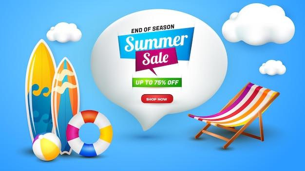 Modello di paesaggio banner saldi estivi con elemento 3d carino