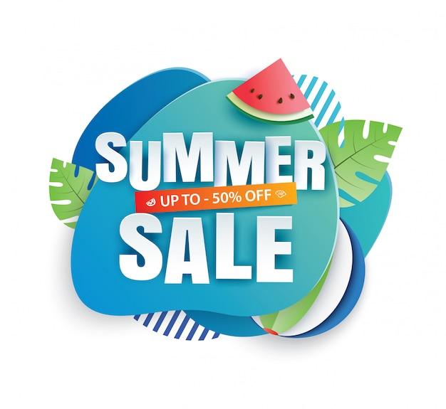 Modello del taglio della carta dell'insegna di vendita di estate. geometrico astratto blu.