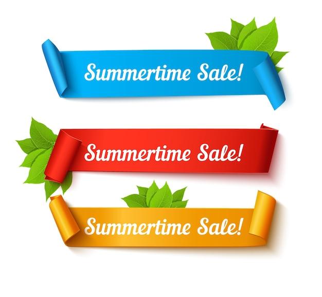 Set di banner di vendita estiva. colore rotolo di carta con testo