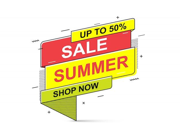Banner di saldi estivi. banner di offerta speciale, sconti in vendita.