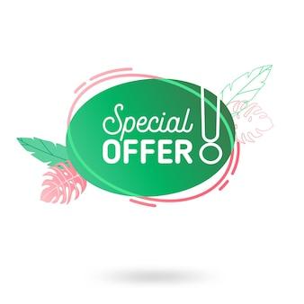 Modello dell'insegna di vendita di estate. fumetto geometrico astratto liquido con fiori e foglie tropicali, sfondo tropicale, distintivo promozionale per offerta stagionale, promozione, pubblicità. illustrazione vettoriale