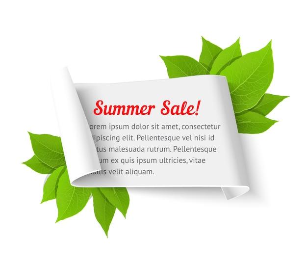 Modello di banner di vendita estiva. rotolo di carta realistico