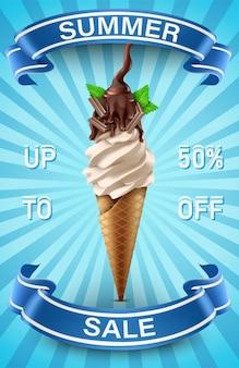 Modello di banner saldi estivi con gelato e nastri blu