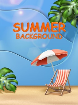 Modello di banner per saldi estivi con lettino e ombrellone su blu