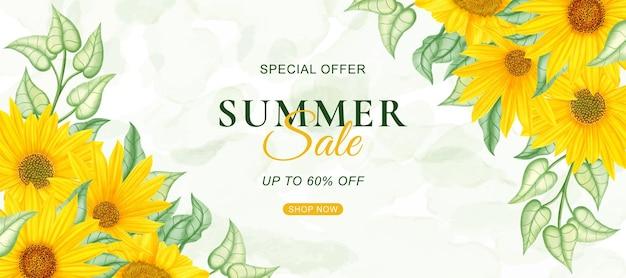 Modello di banner di saldi estivi con girasole ad acquerello