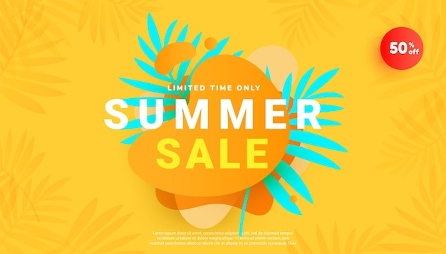 Banner di saldi estivi in stile alla moda con foglie tropicali e sfondo minimo giallo brillante