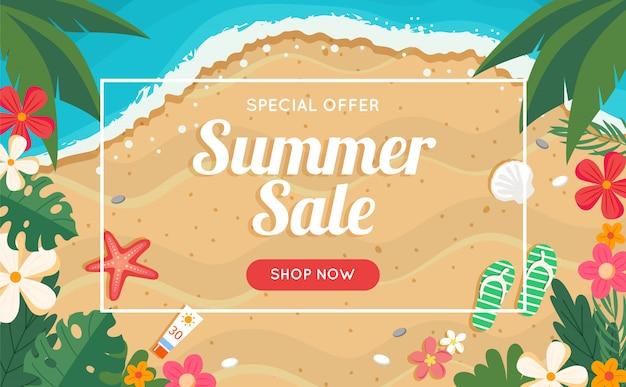 Banner di vendita estiva con spiaggia e mare, cornice floreale.