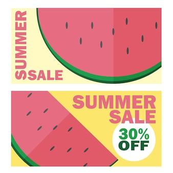 Banner di saldi estivi con bellissimo sfondo di anguria - design della carta sconto