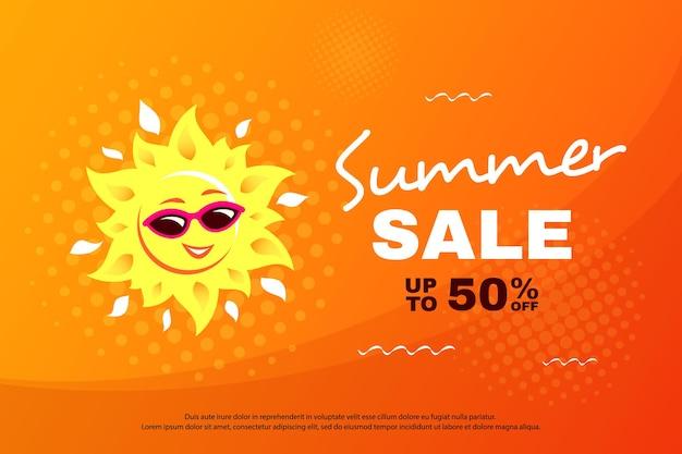 Banner di saldi estivi con carattere solare sorridente allegro, badge promozionale per sconti stagionali