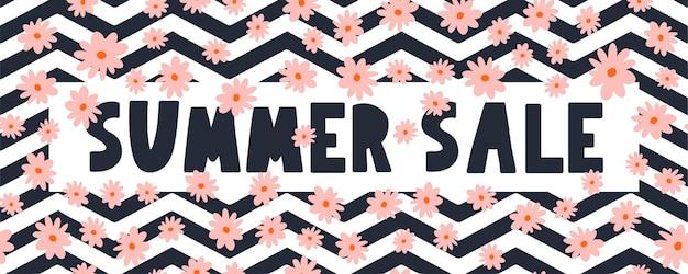Banner di saldi estivi con vettore di lettere di fiori