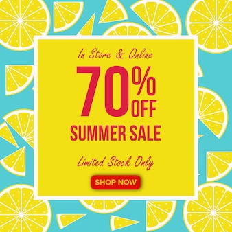 Bandiera di vendita di estate con priorità bassa del limone