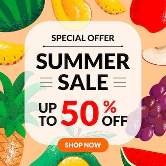 Bandiera di vendita di estate con pezzi di frutta
