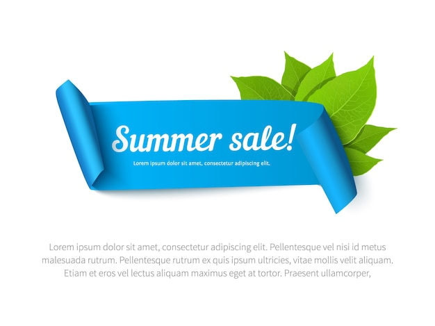 Banner di saldi estivi con nastro e foglie. sfondo vettoriale per poster, flyer, carta, cartolina, copertina, brochure