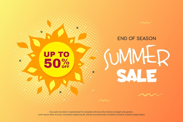Banner di saldi estivi con design del sole e colori caldi, badge promozionale per sconti stagionali