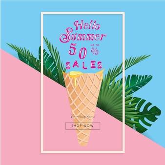 Bandiera di vendita di estate con palme tropicali